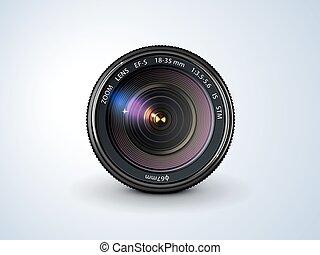 camera lens - lens reflex camera, realistic, on a plain ...