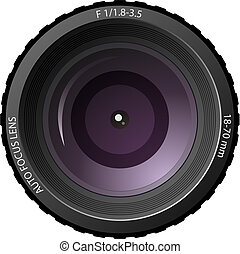 New modern camera lens isolated on white background.