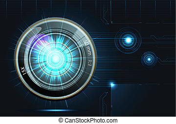 Camera Lens on Futuristic Background