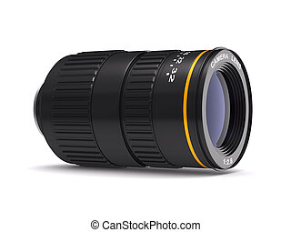Camera lens on white background. Isolated 3D image