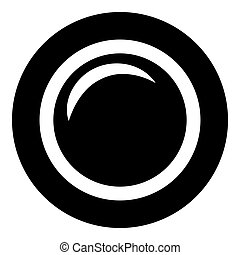 Camera lens photo equipment icon black color vector illustration flat style image
