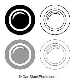 Camera lens photo equipment icon outline set black grey color vector illustration flat style image