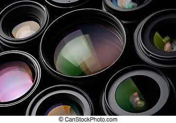 Set of camera lens different sizes and colors