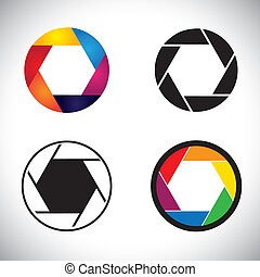 Camera lens shutter aperture abstract icons - vector...