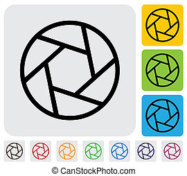 camera lens shutter blades icon(symbol) outline- simple vector graphic. This illustration has the shutter icon on grey, green, orange and blue backgrounds & useful for websites, documents, printing, etc