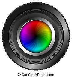 Illustration of an isolated camera lens with a colorful color wheel as the diaphragm shutter.