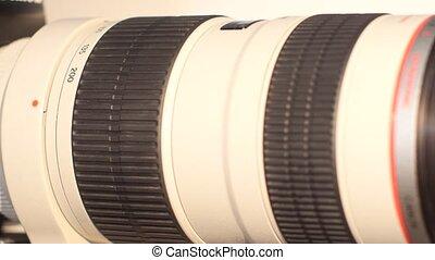 Camera lens with lense glare - turns - Black camera lens...
