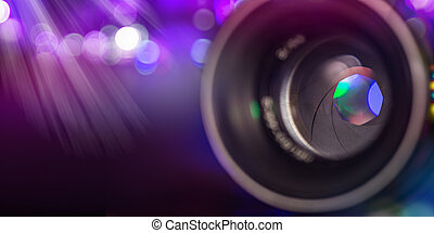 Camera lens with lense reflections, macro shot.