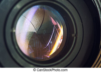 Camera lens with lense reflections modern