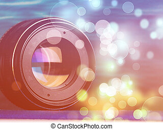 Camera lens with lense reflections., Professional camera lenses