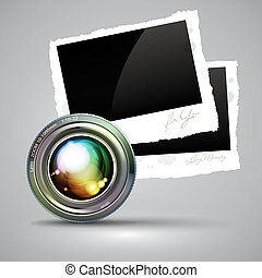 camera lens with photo