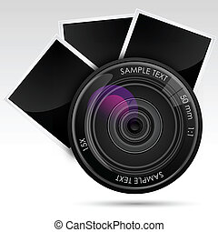 illustration of camera lens with photograph against white background