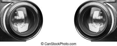 Camera lenses isolated on white background