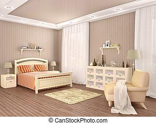 camera letto, 3d, illustrazione, interior.