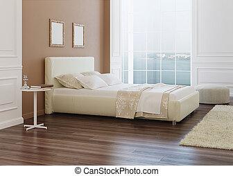 camera letto, 3d, rendering., interior.