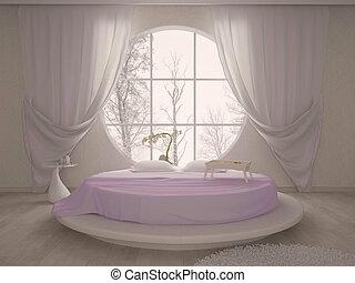 camera letto, con, uno, circolare, finestra, e, letto