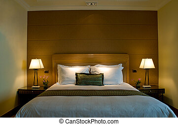 camera letto, elegante, albergo, stella, 5