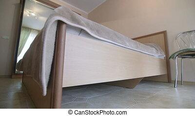 camera letto hotel, disegno interno, carrello, colpo