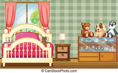 camera letto, lotto, pulito, giocattoli