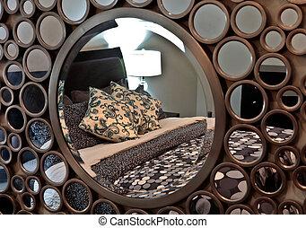 Camera letto moderno letto specchio ovale bianco for Specchio argento moderno