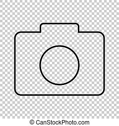 Camera line vector icon on transparent background