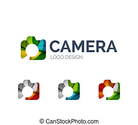 Camera logo design made of color pieces - Abstract camera...