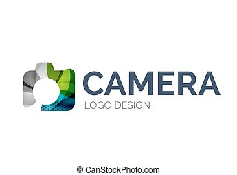 Camera logo design made of color pieces