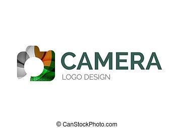 Camera logo design made of color pieces