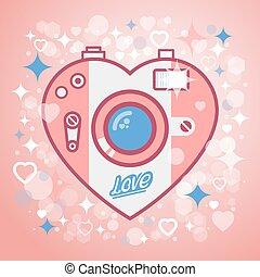 Camera love vector illustration