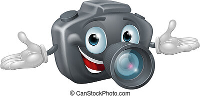 Camera man - Illustration of a happy cartoon camera man with...