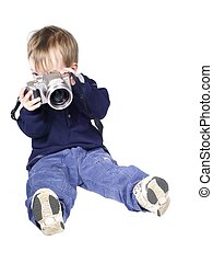 camera man - isolated toddler with a camera