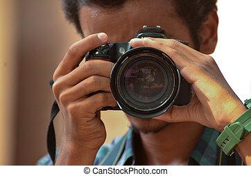 Camera Man Shooting Something