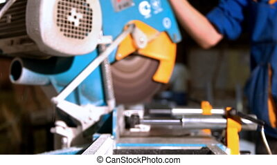 Camera move to plastic saw