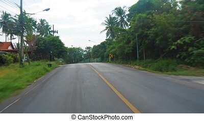 camera moves along an asphalt road, a first-person view, travel and tourism, driving by car and motorcycle