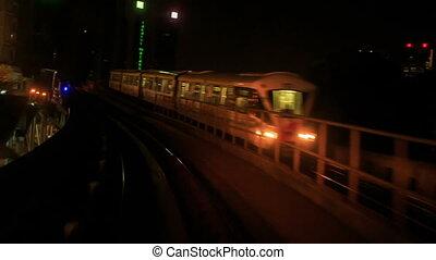 Camera Moves along KL Metro Rails at Night