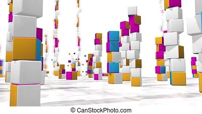 Camera moves between towers of colored cubes with small cubes flying around on a white checkered surface. Loop sequence. 3d animation