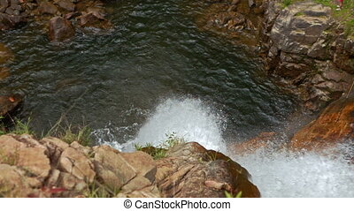 Camera Moves from Pool to Stormy Stream in Rocky Canyon