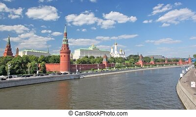 camera moves through the bridge nearby to the Kremlin, Moscow.
