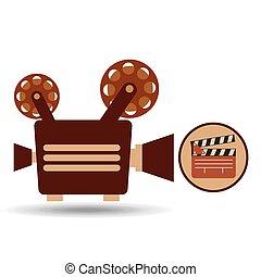camera movie vintage clapper icon design