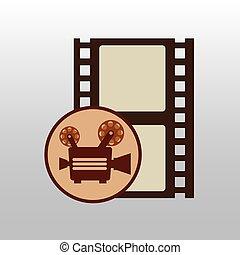 camera movie vintage strip film icon design