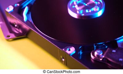 Camera moving forward over HDD storage. Close up video of...