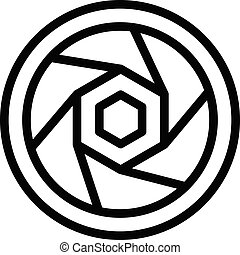 Camera objective icon, outline style