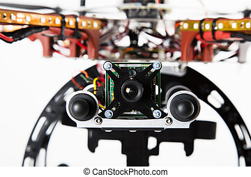 Close up of spy camera attached to drone