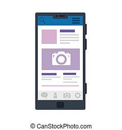 camera on screenshot in smartphone design, Social media multimedia communication and digital marketing theme Vector illustration