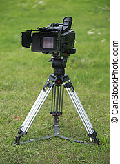 Camera on tripod