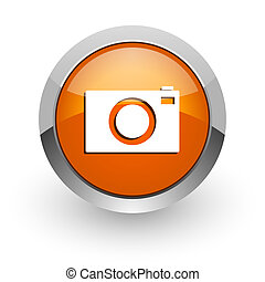 camera orange glossy web icon