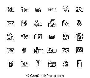 Camera Outline Icon Set ,Vector Illustration.