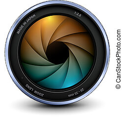 Camera photo lens with shutter