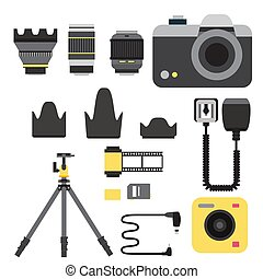 Camera photo vector studio icons optic lenses types...