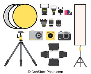 Camera photo vector studio icons optic lenses types objective retro photography equipment professional photographer look illustration